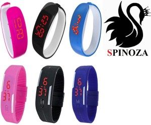 Spinoza led black pink blue digital fancy and stylish watch pack of 9 Analog Watch  - For Boys