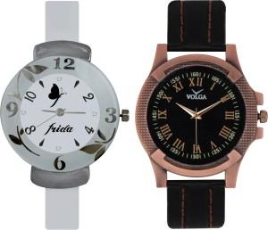 Frida Designer VOLGA Beautiful New Branded Type Watches Men and Women Combo202 VOLGA Band Analog Watch  - For Couple
