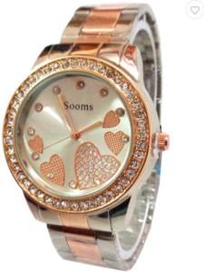 Sooms Sooms Heart Round Display Gold Diamonds M114 Analog Watch  - For Women