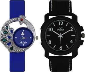 Frida Designer VOLGA Beautiful New Branded Type Watches Men and Women Combo45 VOLGA Band Analog Watch  - For Couple