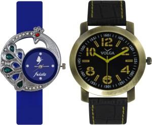 Frida Designer VOLGA Beautiful New Branded Type Watches Men and Women Combo64 VOLGA Band Analog Watch  - For Couple