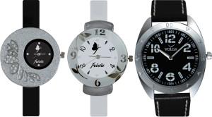 Frida Designer VOLGA Beautiful New Branded Type Watches Men and Women Combo395 VOLGA Band Analog Watch  - For Couple