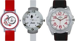 Frida Designer VOLGA Beautiful New Branded Type Watches Men and Women Combo763 VOLGA Band Analog Watch  - For Couple