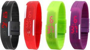 5eae8d77ee06 NS18 Silicone Led Magnet Band Watch Combo of 4 Black Red Green And Purple Digital  Watch - For Cou Price List :