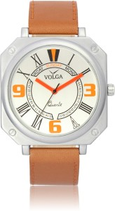 Volga VLW050045 Sports Leather belt Slim Dial Stylish Orange Analog Watch  - For Men