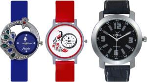 Frida Designer VOLGA Beautiful New Branded Type Watches Men and Women Combo505 VOLGA Band Analog Watch  - For Couple
