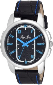 Pappi Boss Blue Stitching Leather Strap Analog Watch  - For Boys