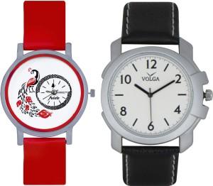 Frida Designer VOLGA Beautiful New Branded Type Watches Men and Women Combo154 VOLGA Band Analog Watch  - For Couple
