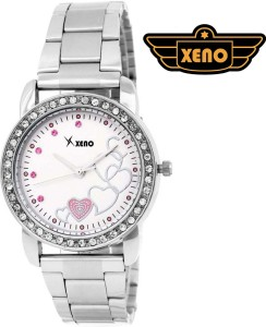 Xeno GN429 Silver Chain Diamond Studded Heart Design Silver Dial Unique Analog Watch  - For Girls