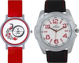 Frida Designer VOLGA Beautiful New Branded Type Watches Men and Women Combo171 VOLGA Band Analog Watch  - For Couple