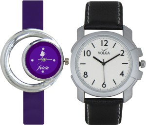 Frida Designer VOLGA Beautiful New Branded Type Watches Men and Women Combo117 VOLGA Band Analog Watch  - For Couple