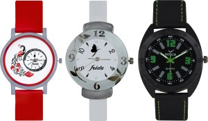 Frida Designer VOLGA Beautiful New Branded Type Watches Men and Women Combo752 VOLGA Band Analog Watch  - For Couple