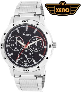 Xeno BN_C1D59_OLD Date Day Chronograph Pattern Silver Metal Black Dial New Look Fashion Stylish Modish Analog Watch  - For Boys