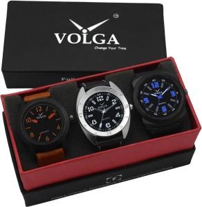 Volga VLW05-19-31-32 Mens Leather Belt Combo With Designer Stylish Analog Watch  - For Men