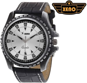 Xeno BN_C9D501 Date Day Chronograph Pattern Black Leather Silver Dial New Look Fashion Stylish Modish Analog Watch  - For Boys