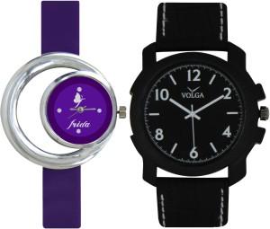 Frida Designer VOLGA Beautiful New Branded Type Watches Men and Women Combo119 VOLGA Band Analog Watch  - For Couple