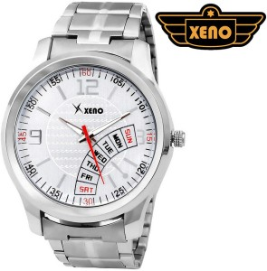 Xeno BN_C2D9_OLD Date Day Chronograph Pattern Silver Metal Silver Dial New Look Fashion Stylish Modish Analog Watch  - For Boys