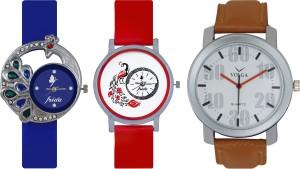 Frida Designer VOLGA Beautiful New Branded Type Watches Men and Women Combo502 VOLGA Band Analog Watch  - For Couple