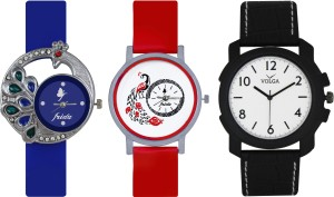 Frida Designer VOLGA Beautiful New Branded Type Watches Men and Women Combo488 VOLGA Band Analog Watch  - For Couple