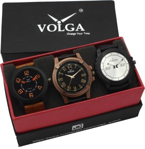 Volga VLW05-20-23-38 Mens Leather Belt Combo With Designer Stylish Branded Trendy box Analog Watch  - For Men