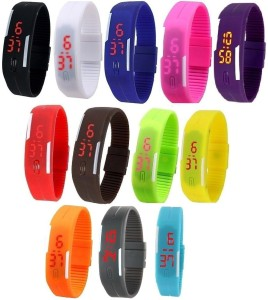 0c0f4b54d Haunt IMPORTED Unisex Multicolor Pack of 12 Rubber Jelly Slim Silicone  Sports Led Smart Band Digital Best Price in India | Haunt IMPORTED Unisex  Multicolor ...