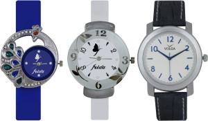 Frida Designer VOLGA Beautiful New Branded Type Watches Men and Women Combo523 VOLGA Band Analog Watch  - For Couple