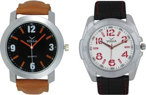 Volga Branded Leather Quality Designer Dial Diwali Special Combo547 Designer Sport Looks WaterProof Mens Watch Analog Watch  - For Men