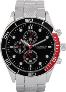 Curren 8028.Silver_Black.Dial Analog Watch  - For Men