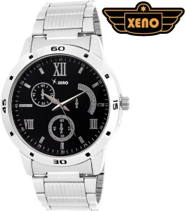 Xeno BN_C1D325_OLD Date Day Chronograph Pattern Silver Metal Black Dial New Look Fashion Stylish Modish Analog Watch  - For Boys