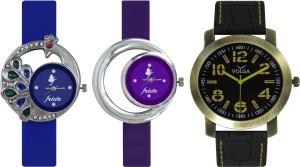 Frida Designer VOLGA Beautiful New Branded Type Watches Men and Women Combo471 VOLGA Band Analog Watch  - For Couple