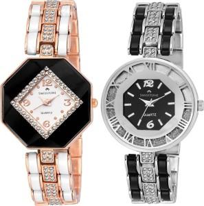 Swisstone CREM609-WHT-GOLD & CREM512-BLK-SLV Analog Watch  - For Women