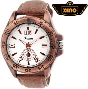 Xeno BN_C3D508 Date Day Chronograph Pattern Brown Leather White Dial New Look Fashion Stylish Modish Analog Watch  - For Men