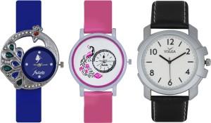 Frida Designer VOLGA Beautiful New Branded Type Watches Men and Women Combo413 VOLGA Band Analog Watch  - For Couple