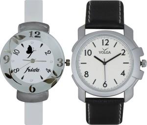 Frida Designer VOLGA Beautiful New Branded Type Watches Men and Women Combo191 VOLGA Band Analog Watch  - For Couple
