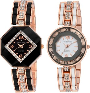 SWISSTONE CREM609-BLK-GOLD & CREM512-WHT-GOLD Analog Watch  - For Women