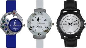 Volga Designer FVOLGA Beautiful New Branded Type Watches Men and Women Combo142 VOLGA Band Analog Watch  - For Couple