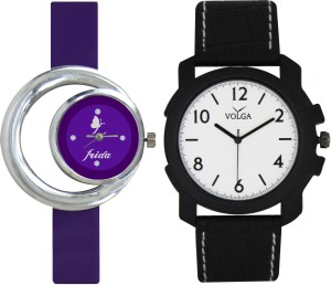 Frida Designer VOLGA Beautiful New Branded Type Watches Men and Women Combo118 VOLGA Band Analog Watch  - For Couple