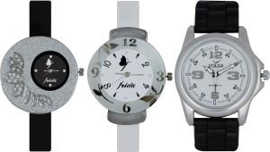 Frida Designer VOLGA Beautiful New Branded Type Watches Men and Women Combo371 VOLGA Band Analog Watch  - For Couple