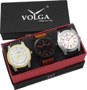 Volga VLW05-19-29-43 Mens Leather Belt Combo With Designer Stylish Branded Trendy box Analog Watch  - For Men