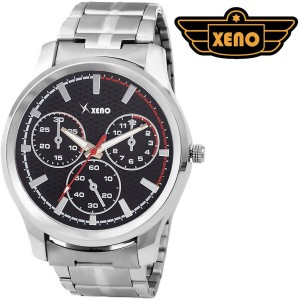 Xeno BN_C2D59_OLD Date Day Chronograph Pattern Silver Metal Black Dial New Look Fashion Stylish Modish Analog Watch  - For Boys