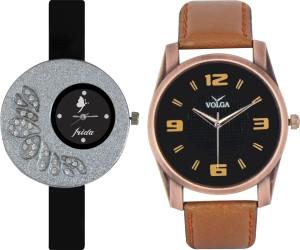 Frida Designer VOLGA Beautiful New Branded Type Watches Men and Women Combo16 VOLGA Band Analog Watch  - For Couple