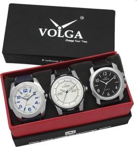 Volga VLW05-24-35-40 Mens Leather Belt Combo With Designer Stylish Branded Trendy box Analog Watch  - For Men