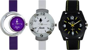 Frida Designer VOLGA Beautiful New Branded Type Watches Men and Women Combo714 VOLGA Band Analog Watch  - For Couple