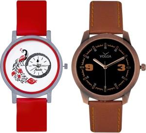 Frida Designer VOLGA Beautiful New Branded Type Watches Men and Women Combo163 VOLGA Band Analog Watch  - For Couple