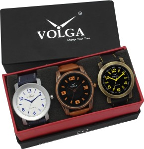 Volga VLW05-11-22-33 Mens Leather Belt Combo With Designer Stylish Branded Attractive box Analog Watch  - For Men