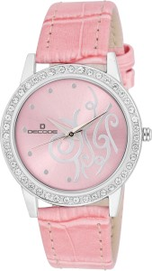 Decode Ladies Crystal Studded ST-501 Pink Pink Analog Watch  - For Women