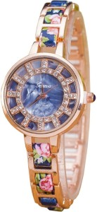 Geneva Platinum Designer Floral Strap Analog Watch  - For Women