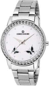 Decode Ladies Crystal Studded 21-030 White Analog Watch  - For Women