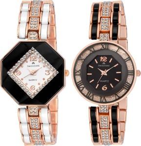 Swisstone CREM609-WHT-GOLD & CREM512-BLK-GOLD Analog Watch  - For Women