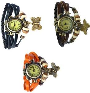 Ewwe 3pc Designer Butterfly Analog Watch  - For Girls